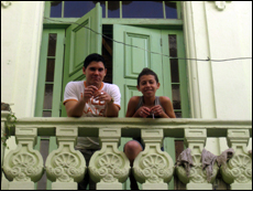 Boys looking out of balcony