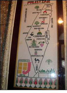 Map in the Jerusalem Hotel, East Jerusalem